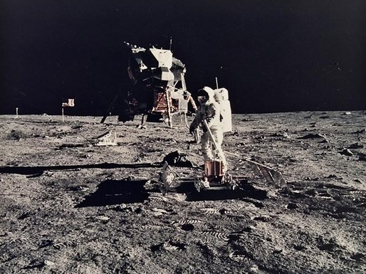 Apollo 11: Buzz Aldrin working near the lunar module.