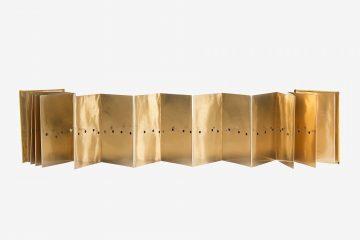 Lucio Fontana Concetto Spaziale 1966 gold paper 15.5 x 10.5 cm edition of 200